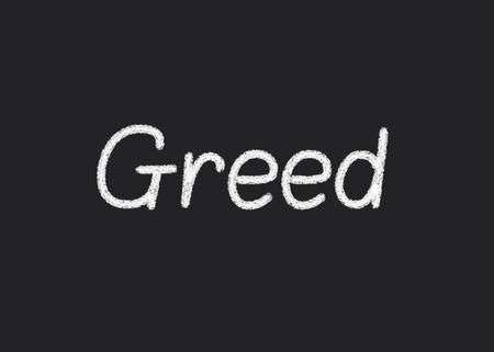 damnation: Greed written on a blackboard