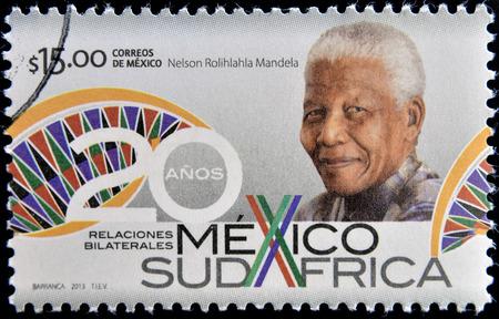 nelson: MEXICO - CIRCA 2013: A stamp printed in Mexico shows Nelson Mandela, circa 2013