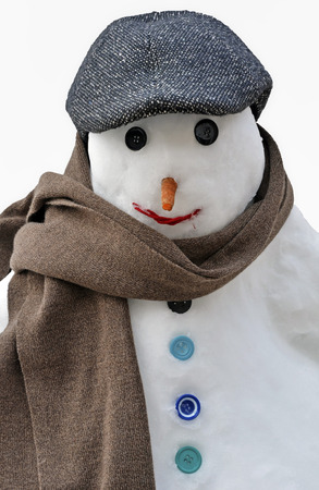snowman with scarf and hat photo