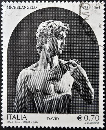 ITALY - CIRCA 2014: A stamp printed in Italy shows a statue of Michelangelo, David, circa 2014