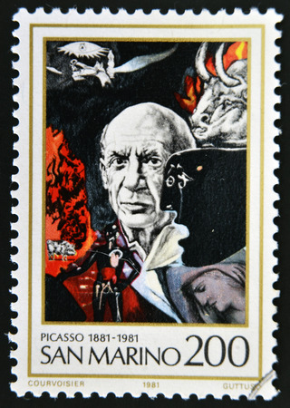 printmaker: SAN MARINO - CIRCA 1981: A stamp printed in San Marino shows Birth Centenary of Pablo Picasso (1881-1973), artist, circa 1981