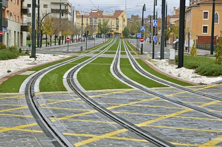 light rail routes in the city, Granada, Spain photo