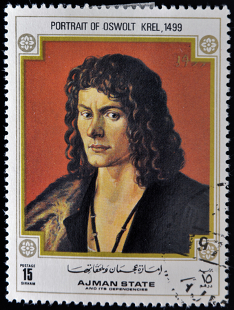 durer: AJMAN - CIRCA 1968: A stamp printed in Ajman shows painting of Albrecht Durer - Portrait of Oswolt Krel, circa 1968