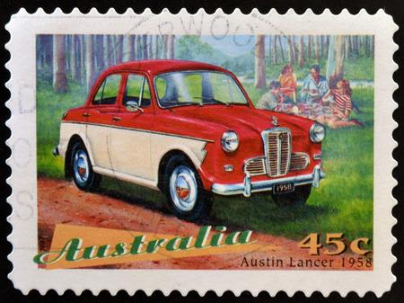 AUSTRALIA - CIRCA 1997: a stamp printed in Australia shows Austin Lancer, Classic Car from 1958, circa 1997