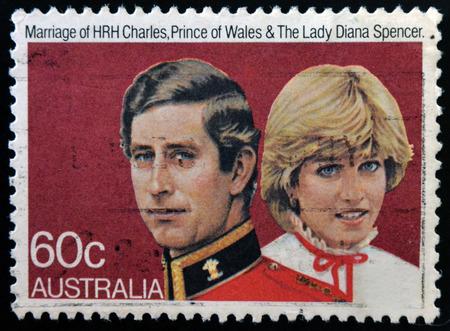prince charles of england: AUSTRALIA - CIRCA 1981: A stamp printed in Australia shows Prince Charles and Lady Diana, circa 1981