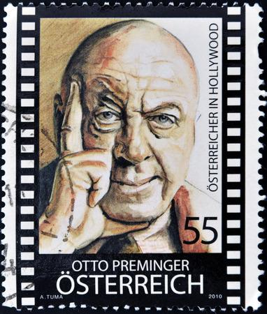 feature films: AUSTRIA - CIRCA 2010: Stamp printed in Austria shows Otto Preminger, circa 2010