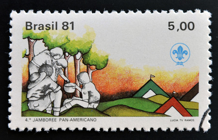 philatelist: BRAZIL - CIRCA 1981: Stamp printed in Brazil dedicated to scout boys, circa 1981