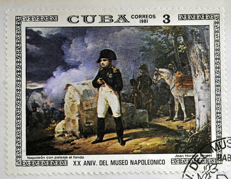 horace: CUBA - CIRCA 1981: A stamp printed in CUBA shows the Napoleon with Landscape in the Background, by Jean Horace Vernet, from the series Paintings in the Napoleon Museum, circa 1981 Editorial