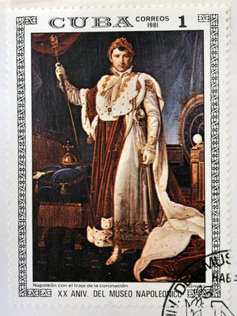 sceptre: CUBA - CIRCA 1981: A stamp printed in Cuba shows the Napoleon in Coronation Costume, anonymous, from the series Paintings in the Napoleon Museum, circa 1981