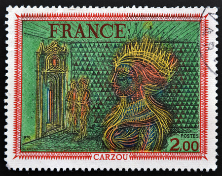 printmaker: FRANCE - CIRCA 1676: A stamp printed in France shows Painting Womans Head by French Armenian artist, painter and illustrator Jean Carzou, circa 1976