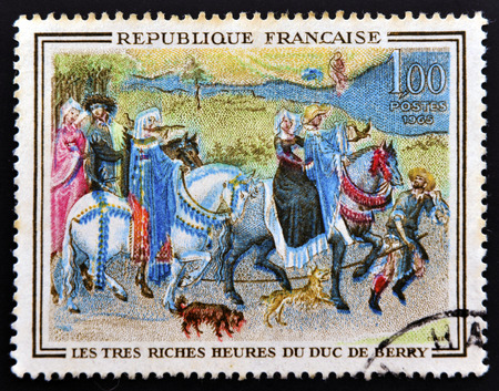 FRANCE - CIRCA 1965: a stamp printed in France shows Leaving for the Hunt, Miniature of Book of Hours of Jean de France, Painted by Flemish Brothers Limbourg, circa 1965
