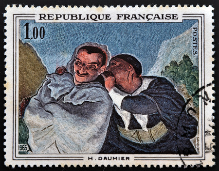 copse: FRANCE - CIRCA 1966: A stamp printed in France shows Crispin and Scapin by Honore Daumier, circa 1966