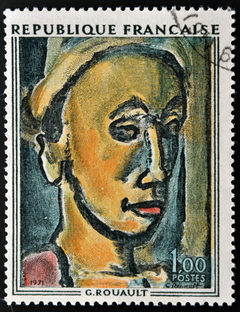 expressionist: FRANCE - CIRCA 1971: A stamp printed in France shows painting The Dreamer by French Fauvist and Expressionist painter Georges Henri Rouault, circa 1971
