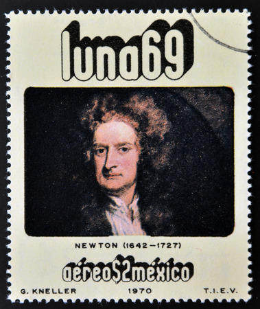 isaac newton: MEXICO - CIRCA 1971: A stamp printed in Mexico from the luna 69 issue shows Isaac Newton (1642-1727), circa 1971.