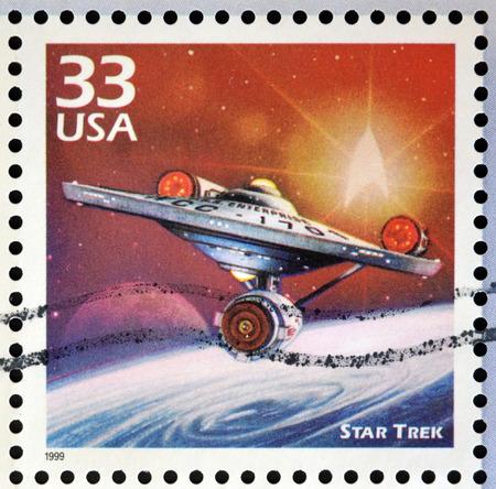 VERENIGDE STATEN VAN AMERIKA - CIRCA 1999: stempel gedrukt in de VS gewijd aan de eeuw 1960 te vieren, toont ster trek, circa 1999 Redactioneel