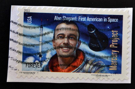 alan: UNITED STATES OF AMERICA - CIRCA 2011: Stamp printed in USA shows Alan Shepard, first american in space, circa 2011