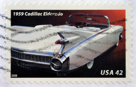 eldorado: UNITED STATES OF AMERICA - CIRCA 2008: A stamp printed in USA shows a Cadillac Eldorado, circa 2008