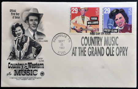 USA - CIRCA 1993: Postage stamps printed in USA, shows Hank Williams Type and Patsy Cline, circa 1993