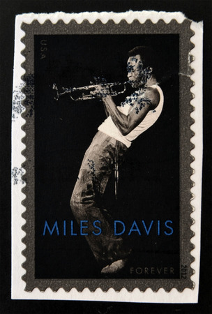 miles: UNITED STATES OF AMERICA - CIRCA 2012: a stamp printed in USA showing an image of Miles Davis, circa 2012.