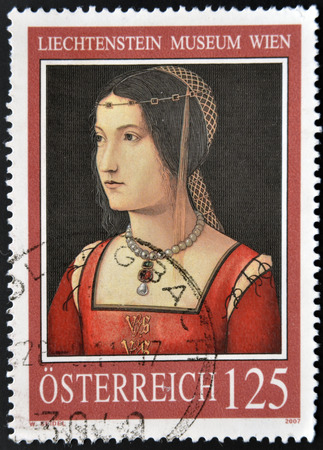 attributed: AUSTRIA - CIRCA 2007: A stamp printed in Austria shows Woman portrait attributed to Italian painter Bernardino da Zaganelli Cottignola, circa 2007