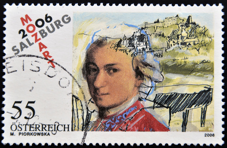 prolific: AUSTRIA - CIRCA 2006: a stamp printed in Austria shows image of Wolfgang Amadeus Mozart, circa 2006 Stock Photo
