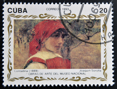 joaquin: CUBA - CIRCA 1993: A stamp printed in cuba shows the work Contadina by Joaquin Sorolla, circa 1993 Stock Photo