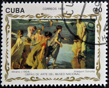 philatelist: CUBA - CIRCA 1993: A stamp printed in cuba shows the work summer by Joaquin Sorolla, circa 1993