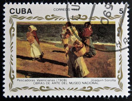 sorolla: CUBA - CIRCA 1993: A stamp printed in cuba shows the work Valencian fisherwomen by Joaquin Sorolla, circa 1993