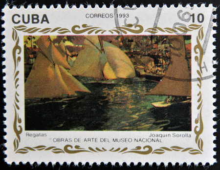 sorolla: CUBA - CIRCA 1993: A stamp printed in cuba shows the work races by Joaquin Sorolla, circa 1993