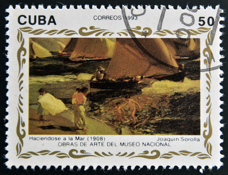 sorolla: CUBA - CIRCA 1993: A stamp printed in cuba shows the work pretending to sea (1908) by Joaquin Sorolla, circa 1993