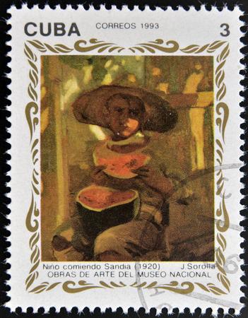 joaquin: CUBA - CIRCA 1993: A stamp printed in cuba shows the work child eating watermelon (1920) by Joaquin Sorolla, circa 1993 Stock Photo