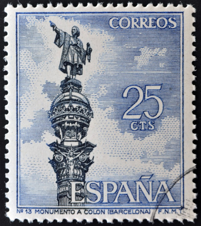 commemorate: SPAIN - CIRCA 1965: a stamp printed in Spain shows Columbus Monument, Barcelona, Christopher Columbus,  circa 1965