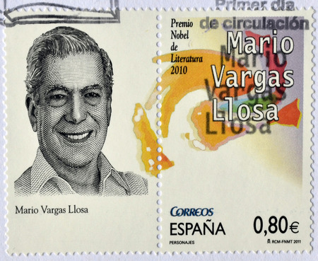 mario: SPAIN - CIRCA 2011: a stamp printed in Spain showing an image of Nobel prize winner Mario Vargas Llosa, circa 2011. Stock Photo