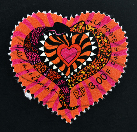 laurent: FRANCE - CIRCA 2000: A stamp printed in France that shows heart of Yves Saint Laurent, circa 2000 Stock Photo
