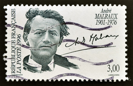 theorist: FRANCE - CIRCA 1996: a stamp printed in the France shows Andre Malraux, Writer, Minister for Cultural Affairs, circa 1996 Stock Photo