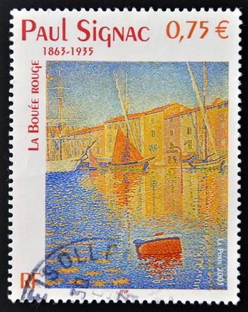 FRANCE - CIRCA 2003: A stamp printed in France shows La bouée rouge (The Red Buoy) by Paul Signac, circa 2003 photo