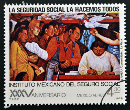 MEXICO - CIRCA 1978: A stamp printed in Mexico shows work of Diego Rivera, circa 1978