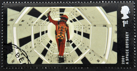 UNITED KINGDOM - CIRCA 2014: A stamp printed in Great Britain dedicated to Great British Film, shows 2001 A Space Odyssey , circa 2014 Imagens