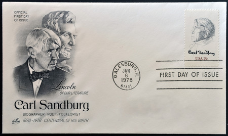 biographer: UNITED STATES OF AMERICA - CIRCA 1978:  stamp printed in USA, shows the poet, biographer and collector of American folk songs - Carl Sandburg, circa 1978 Stock Photo