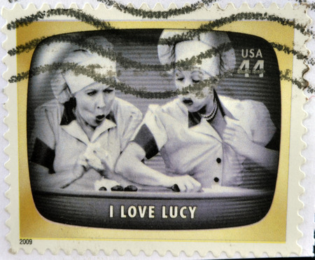postage stamp: UNITED STATES OF AMERICA - CIRCA 2009: A stamp printed in USA Celebrates Classic TV shows I love Lucy, circa 2009 Stock Photo