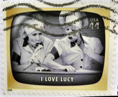 philatelist: UNITED STATES OF AMERICA - CIRCA 2009: Eine Briefmarke in den USA feiert Klassische TV gedruckt zeigt I love Lucy, circa 2009