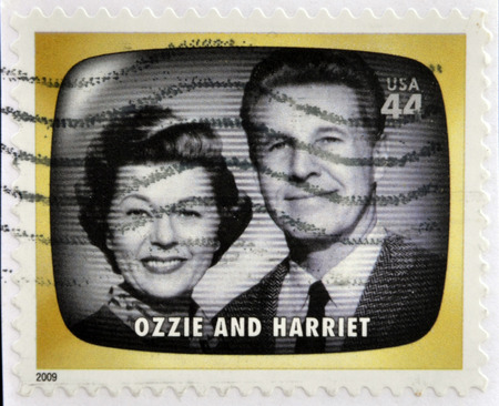 philatelist: UNITED STATES OF AMERICA - CIRCA 2009: A stamp printed in USA Celebrates Classic TV shows Ozzie and Harriet, circa 2009