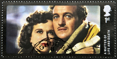 matter: UNITED KINGDOM - CIRCA 2014: A stamp printed in Great Britain dedicated to Great British Film, shows A Matter of Life and Death , circa 2014 Stock Photo