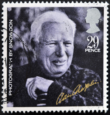 chaplin: UNITED KINGDOM - CIRCA 1985: A stamp printed in Great Britain shows Charlie Chaplin (from photo by Lord Snowdon), circa 1985