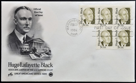 lafayette: UNITED STATES OF AMERICA - CIRCA 1970:A stamp printed in USA shows image of the Hugo LaFayette Black  was an American politician and jurist, circa 1970.