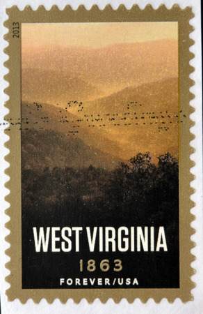 philatelist: UNITED STATES OF AMERICA - CIRCA 2013: A stamp printed in USA dedicated to West Virginia, circa 2013 Stock Photo
