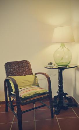 demijohn: corner for rest and reading Stock Photo