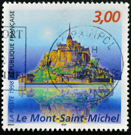 mount saint michael: FRANCE - CIRCA 1998: A stamp printed in France shows Mont Saint Michele, circa 1998