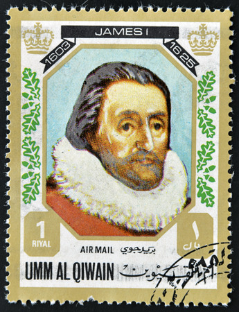 king james: UMM AL QIWAIN - CIRCA 1980: A stamp printed in Umm Al Qiwain shows King James I, circa 1980 Editorial