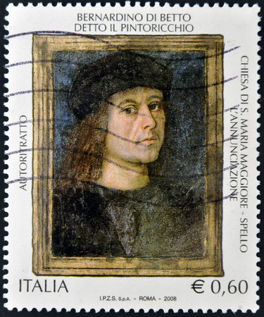 Bernardino: ITALY - CIRCA 2008: A stamp printed in Italy shows Self-portrait of Bernardino di Betto, Pinturicchio, circa 2008